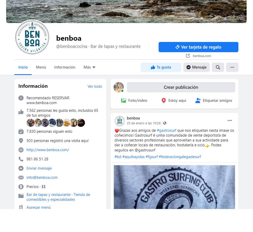 Facebook e instagram Restaurante Benboa desde abril 2019