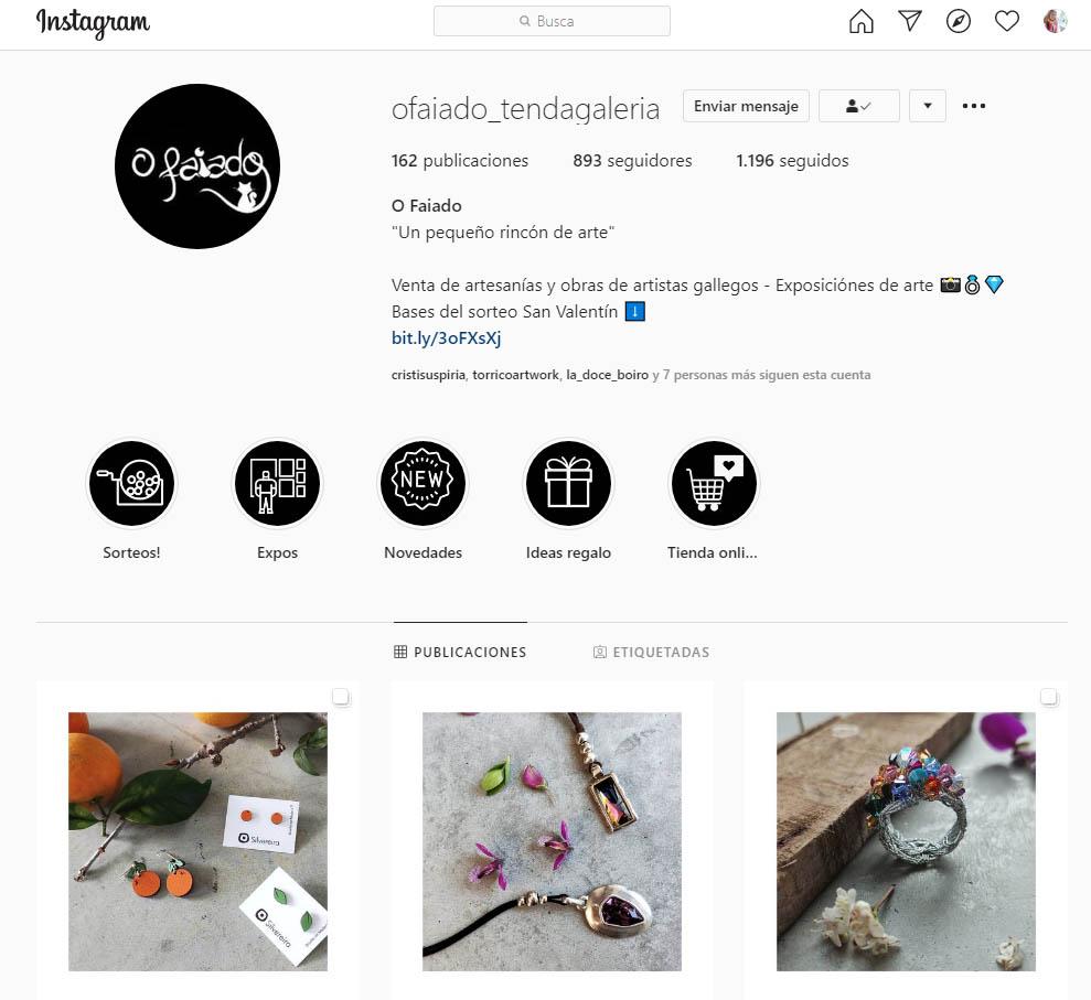 Instagram Tenda Galería O Faiado desde diciembre 2019